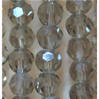 smoky Chinese Crystal Beads, faceted round, approx 4mm dia, 100pcs per st