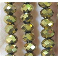 chinese crystal bead, faceted rondelle, gold plated, approx 6x8mm, 72 pcs per st