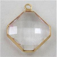 clear Chinese crystal glass pendant, faceted square, gold plated