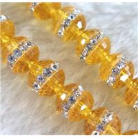 Chinese crystal bead with rhinestone, faceted round, approx 10mm dia, 40pcs per st