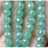 chinese crystal bead, faceted round, green AB-color, approx 6mm dia, 98pcs per st