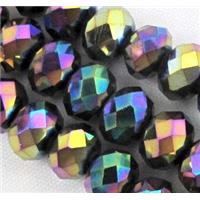Chinese crystal glass bead, Faceted rondelle, rainbow, 4mm dia, 150pcs per st