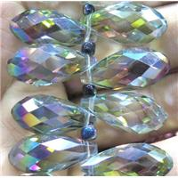 Chinese crystal glass bead, faceted teardrop, approx 10x18mm, 100pcs per st