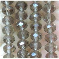 Smoky Chinese crystal glass bead, faceted rondelle