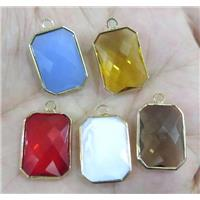 Chinese crystal glass pendant, faceted rectangle, gold plated
