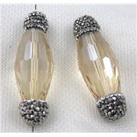 Chinese crystal glass spacer bead paved rhinestone, faceted oval, approx 15-45mm