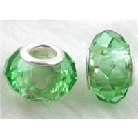 crystal glass beads, faceted rondelle, lt.green, approx 14mm dia, 8mm thin, hole: 4.7mm