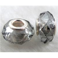 crystal glass beads, faceted rondelle, grey, approx 14mm dia, 8mm thin, hole: 4.7mm