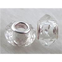crystal glass beads, faceted rondelle, clear, approx 14mm dia, 8mm thin, hole: 4.7mm
