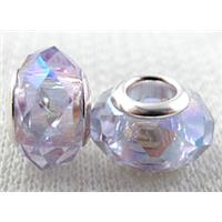 crystal glass beads, faceted rondelle, lavender AB-Color, approx 14mm dia, 8mm thin, hole: 4.7mm