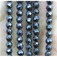 tiny hematite beads, faceted round, black, approx 3mm dia