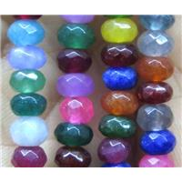jade bead, faceted rondelle, dye, mix color, approx 4x6mm