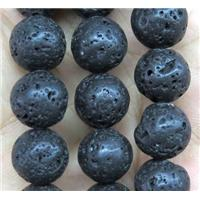 round black Lava stone beads, approx 8mm dia