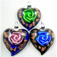 MixColors Lampwork Glass heart Pendants within Goldsand and Rose, 40mm wide