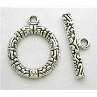 Tibetan Silver Toggle Clasps Non-Nickel, 17x22mm, stick:22mm long
