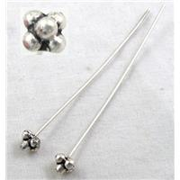 Tibetan Silver Fancy Pin Charms Non-Nickel, 53mm long, pinhead:4x4mm