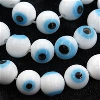 round white Lampwork Glass Beads with evil eye, approx 6mm dia