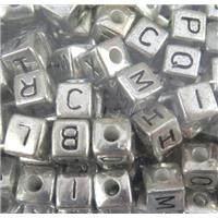 plastic bead with alphabet letter