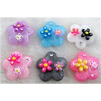 Resin Cabochon, flower, flat-back, mixed color