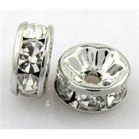 rondelle middle-east Rhinestone Beads, platinum plated, 5mm dia