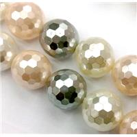 pearlized shell beads, faceted round, mixed color, 14mm dia, 27pcs per st