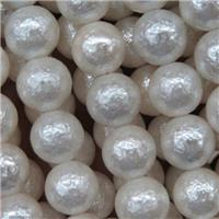 white pearlized shell bead, Rough round