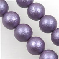 round matte purple pearlized shell beads, approx 10mm dia