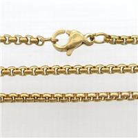 stainless steel necklace chain, box, gold plated, approx 2mm, 58cm long