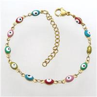 stainless steel bracelet with mixcolor evil eye, resizable, gold plated, approx 4-5.5mm, 16-20cm long