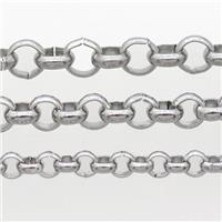 raw stainless steel circle chain, approx 4mm dia