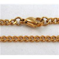 golden plated Stainless Steel Necklace Chain, approx 3mm wide, 45cm long