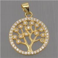 Sterling Silver pendant paved zircon, tree of life, gold plated, approx 15mm